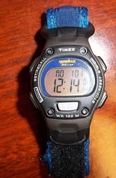 Nice Timex Ironman Indiglo 30 Lap Watch Blue & Grey 855 Running 100M Water #Timex