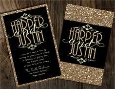 Champagne glitter wedding invitations, gold wedding invitations, glitter wedding invitations, black and gold wedding invitations