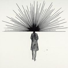 Line drawings by Charles Avery: the illusory combining of hair with perspective…