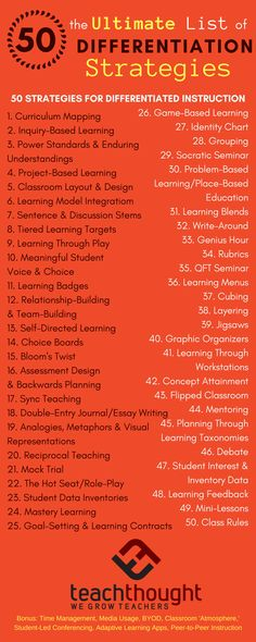 Differentiated instruction - This resource describes 50 differentiation strategies and instructions for educators The goal of a differentiated classroom is to maximize student growth and individual success This resource is rele Differentiated Instruction Strategies, Differentiation Strategies, Differentiation In The Classroom, Teaching Strategies, Teaching Tips, Revision Strategies, Teaching Reading, Teaching Math, Strategy Map