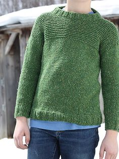 Designed after our popular men's sweater, Larry, Lawrence is a simple pullover with garter stitch texture, that's cute for boys and girls. (Berroco)