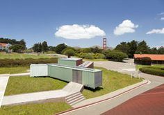 Shipping Container Pavillion Springs up in San Francisco Presidio Shipping Container Home Designs, Container House Design, Container Houses, Shipping Containers, San Francisco, Living Environment, Exhibition Space, Outdoor Seating, Design Awards