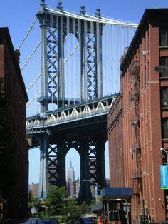 View of Manhattan Bridge from streets in Dumbo