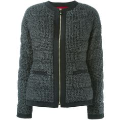 Moncler Gamme Rouge padded bouclé knit jacket (£1,395) ❤ liked on Polyvore featuring outerwear, jackets, grey, feather jacket, grey jacket, knit jacket, gray jacket and moncler gamme rouge
