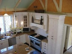 white with mocha glaze by Oceanside Cabinets