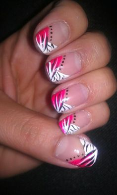 Cool Hot Pink, Black and white nail design BY Me :) Angela Kienzle