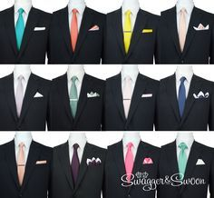 Wedding Ties Colour Matching Service. Easily match the groomswear to the bridesmaids dresses with fabric swatches for all colours.