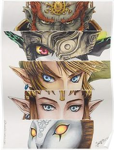 'Legend of Zelda: Twilight Princess eyes' Poster by Fully done tradional, with colouring pencils and markers. / Legend of Zelda (TP) © Nintendo Zelda Twilight Princess, Princesa Zelda, New Zelda, Link Zelda, Posters Geek, Zelda Drawing, Legend Of Zelda Breath, The Legend Of Zelda, Legend Of Zelda Tattoos