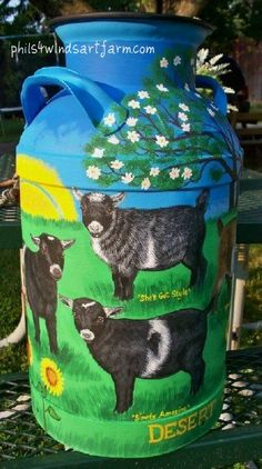 phils4windsartfarm: hand painted & hand crafted art, featuring goats, pets, horses, livestock: Milk Cans...