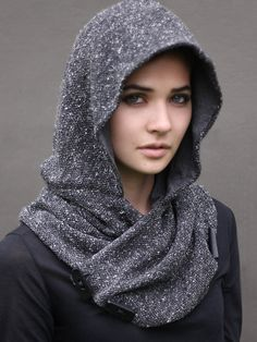 Grey Heather Knit Snood, unique handmade eco urban style, hoodie scarf