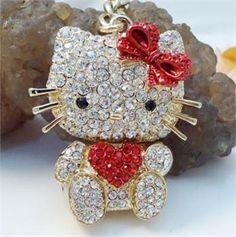 Hello Kitty Red Cute Cat Swarovski Crystal Charm Pendant Key Bag Chain Gift