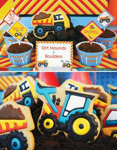 Construction theme party food kids sweets cookies boys trucks birthday party ideas theme, dirt mounds, cup of dirt idea Toddler Boy Birthday, Birthday Themes For Boys, 3rd Birthday Parties, 2nd Birthday, Birthday Ideas, Construction Birthday Parties, Construction Party, Construction Cookies, Party Food Themes