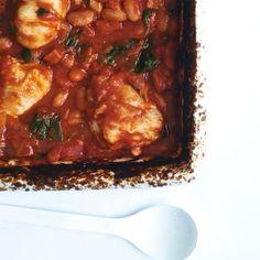 Chicken Drumsticks with Spinach, Pancetta & Borlotti Beans