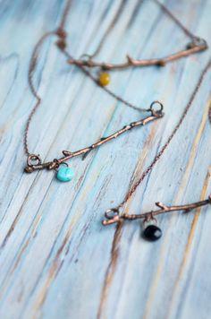 Twig pendant, minimal pendant, electroformed jewelry, copper necklace