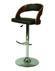 Yreka Hydraulic Barstool - Chrome/Walnut Veneer Finish and Black Upholstery, YR-219-CH-WA-979 by Pastel Furniture | BizChair.com