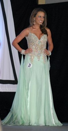 """""""I wore this gorgeous MacDuggal gown to compete in the Miss WV USA pageant."""" - Taylor Eaton"""