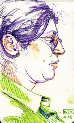 Lynne Chapman - Santo Domingo; drawing in a bar.    Inktense watercolour pencils.    You browse my sketchbooks at www.lynnechapman.co.uk