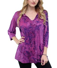 Purple Paisley Notch Neck Top by Flawless #zulily #zulilyfinds