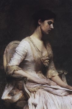 The Letter ( A Note): 1889 by Thomas Wilmer Dewing (The Arkell Museum, Canajoharie, NY)