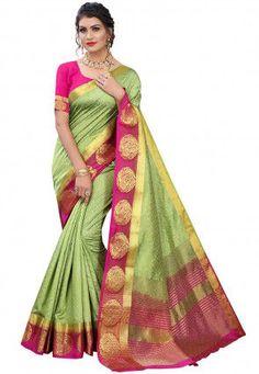 Weaving Art, Back Neck Designs, Sari, Green Saree, Pure Silk Sarees, Contrast Color, Sleeve Styles, Peacock, Purpose