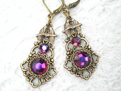 Crystal Volcano and Lovebird Earrings by MorningGloryDesigns, $18.00