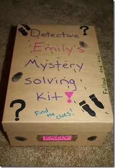 Detective Kit for Kids - Love the Look of this one.  Would adapt for VBS Detective as follows: Photo/Detective Box Prayer Journal with pencil Art Puzzle/Picture (cut out, put back together, use contact paper) Fingerprint kit Spy Glasses Highlighter (instead of cotton swabs) Post it Notes (instead of tape) Small Bible (could do an I spy cover?) Maps of Jesus' Journey, Map of Israel, Map of Paul's Journeys, etc.  (Put in large evidence folders)