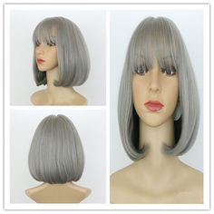 Short Full Bang Straight Synthetic Wig #women, #men, #hats, #watches, #belts