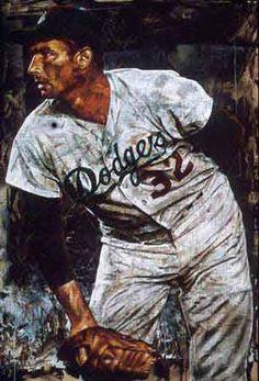 Sandy Koufax No Hitter Proof 2004 by Stephen Holland - Giclee Dodgers Nation, Dodgers Fan, Dodgers Baseball, Baseball Painting, Baseball Art, Negro League Baseball, Rockies Baseball, Sandy Koufax, The Sporting Life