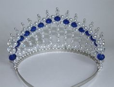 Safire Blue Crystal Pearl and Crystal AB Princess Tiara Diva Tiara Birthday Tiara-- Safire Blue Crystal Pearl and Crystal AB от Diy Tiara, Birthday Tiara, Bead Studio, Tarnished Silver, Mode Blog, Bridal Crown, Plastic Beads, Tiaras And Crowns, Beads And Wire