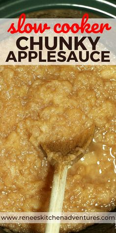 Homemade Slow Cooker Chunky Applesauce by Renee's Kitchen Adventures. Hands off, super simple recipe for delicious homemade applesauce made from fresh apples. Use your favorite variety of apples in this applesauce recipe! Delicious warm or cold. #RKArecipes #applesaucerecipe #homemadeapplesauce #applerecipes #apples #freshapples Slow Cooker Recipes Dessert, Fruit Recipes, Apple Recipes, Fall Recipes, Crockpot Recipes, Yummy Recipes, Dessert Recipes, Canning Recipes, Kitchen Recipes