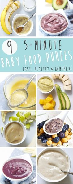 These 9 5-Minute Baby Food Puree Recipes are fast, healthy and completely homemade! They are perfect for moms that make everything from scratch, the moms just trying to survive the day and the moms that never thought about making their own baby food.  Whatever type of mom you are, these 9 baby food purees have your back!