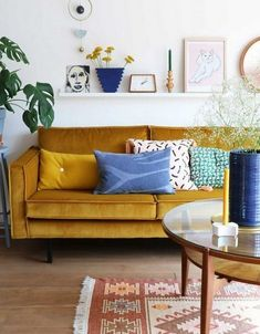 Ways to Decorate a Living Room Corner Behind a Couch or Loveseat Mustard Living Rooms, Retro Living Rooms, Living Room Decor, Living Room Carpet, Home Decor, Couches Living Room, Sofa Colors, Living Decor, Rugs In Living Room