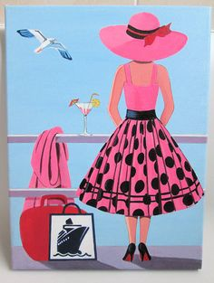 Items similar to Original Art Painting Lady on a cruise ship pink spotted Dress, Hat on canvas 16 x 12 inches on Etsy Teenage Drawings, Sexy Drawings, Diy Canvas Art, Acrylic Painting Canvas, Painting Art, Paintings, Mckenzie And Childs, Woman Sketch, Arte Pop