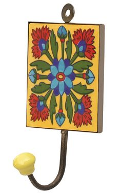 "#Colorful Behaviors – Handmade 6.2"" #Ceramic #Wall-Hook with Multicolored #Flowers on Yellow Base"