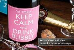 Luxury Personalised Champagne - Keep Calm - Pink