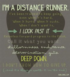 I'm a distance runner.  I've been trained to keep going, even when it's hard.  When it hurts.  When it sucks.  When I don't want to.  I look past it.  Relentless forward progression to the finish.  Call it what you want:  stubbornness, endurance, determination, guts.  Deep down, I don't know how to give up. (and it's always worth it in the end)