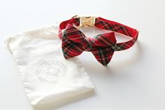 pecan pie puppies red tartan bow tie collar for dogs