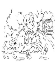 First Day of School, : A Young Boy and His Dog on the First Day of School Coloring Page School Coloring Pages, Online Coloring Pages, Color Activities, School Colors, Young Boys, Coloring For Kids, First Day Of School, Colorful Pictures, Coloring Sheets