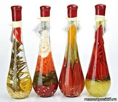 handmade decorative bottles with fruit and vegetables