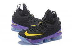 c562d9b3afc9d 2018 Men s Nike LeBron 15 Black Purple-Yellow Basketball Shoes. Jordan ...