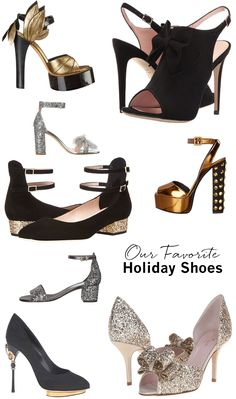 Our favorite shoes for holiday parties 2016 // black and gold, sparkly, metallic shoes, kate spade