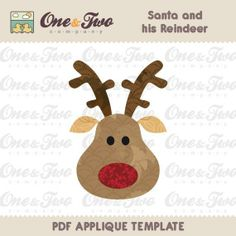 Sewing: Santa and his Reindeer Applique Template