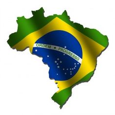 The Brazilian Flag applied to the map of Brazil