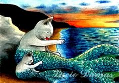 Cat Mermaid | ACEO art print Cat Mermaid 9, fantasy painting by Lucie Dumas ...