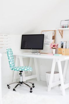 White and #mint inspired home #office