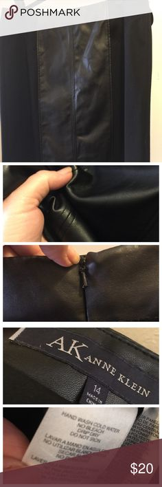AK Anne Klein faux leather skirt blk 14 Must look! Faux leather panels that are soft, pliable very realistic leather looking. Substantial fabric on sides of skirt. Stretchy but not clingy. Not heavy. elegant w/black turtleneck, great w/boots & Jean jacket. Back zipper. Worn a few times in my corporate life. perfect condition no fading no snags no issues! Waist 18 length 21 1/2. Modest kick pleat in the back. Great flattering seeming throughout. Faux leather panel on the front and in the…
