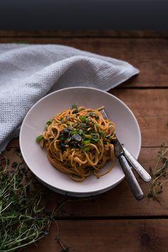 Gluten-free Rice Spaghetti + Creamy Tomato Red Lentil Sauce