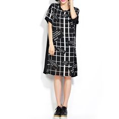 Knielange Kleider - Schwarz Chiffon Brief Loose Fit Kleid - ein Designerstück von DIYtime bei DaWanda