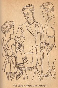 Dick being rude...again!  (8) Illustration by Mary Stevens is from the 1951 Dustjacket edition of Trixie Belden and the Gatehouse Mystery