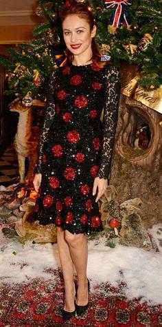 11.20.14 Olga Kurylenko in Dolce & Gabbana S15 at Claridge's and Dolce & Gabbana Christmas Tree party
